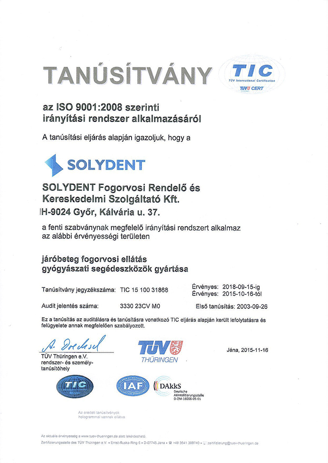Solydent ISO certifikat magyar copy